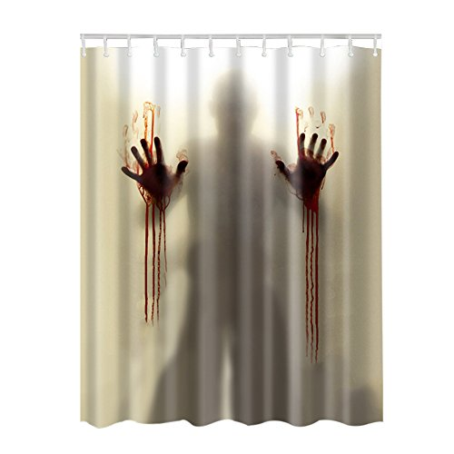 Adarl Blood Man Shower Curtain Waterproof Fabric Bath Curtains,Set of 12 Rings/71x71inch,for Bathroom Decor