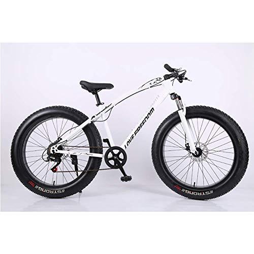 Unbekannt Mountainbike, 26-Zoll-Fat Tire Straßen-Fahrrad Schnee Bike Beach Bike High-Carbon Stahlrahmen, mit Scheibenbremsen und Federgabeln,Weiß,27Speed