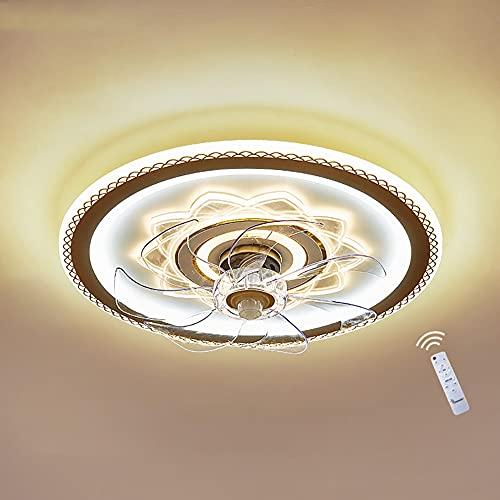 Ventiladores de Techo con lámpara LED Lámpara de Techo de Regulable para Dormitorio Plafon de Luz Moderna de Circular con Control Remoto, Acrílico Pantalla, Interior Lámpara de Ventilador Ø50CM