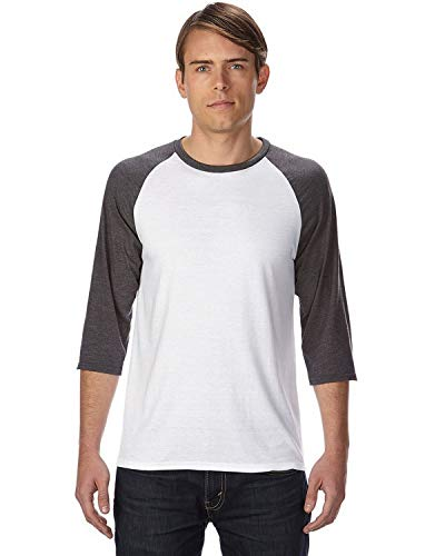 A6755 Anvil Adult Tri-Blend 3/4-Sleeve Raglan Tee, White/Heather Dark Grey, X-Large