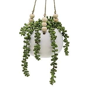 "Silk Flower Arrangements Flora Bunda Mid Century Artificial Plants 4.5"" Artificial Succulent Garden Macrame Hanging Ceramic Planter"