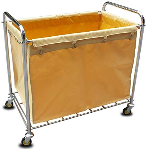 TQJ Storage Baskets for Bedroom Stainless Steel Laundry Hamper Sorter Cart, Heavy-Duty Laundry Container on Mute Wheels with Waterproof Bag, 94x56x90cm Storage Baskets Large (Color : Beige)