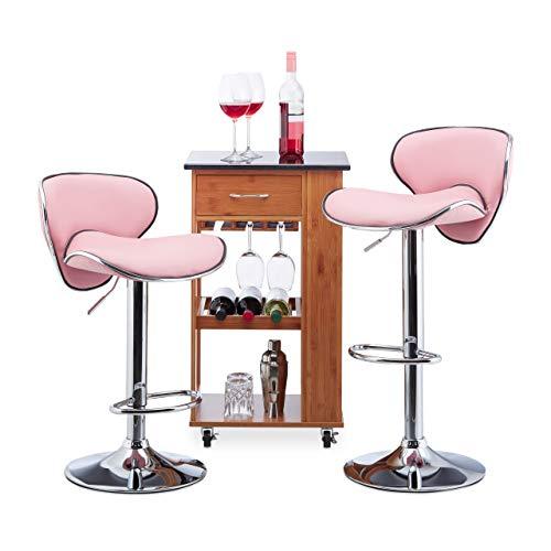 Relaxdays, in hoogte verstelbaar, draaibaar, 120 kg, metalen bistrostoel, HxBxD: 100 x 46 x 50 cm, roze barkruk set 2, roze, HxWxD
