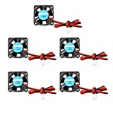 Lot de 5 mini ventilateurs d'imprimante 3D 12 V DC silencieux 30 x 30 x 10 mm avec câble 28 cm pour imprimante 3D Hotend Makerbot MK7 MK8 CPU puce Arduino