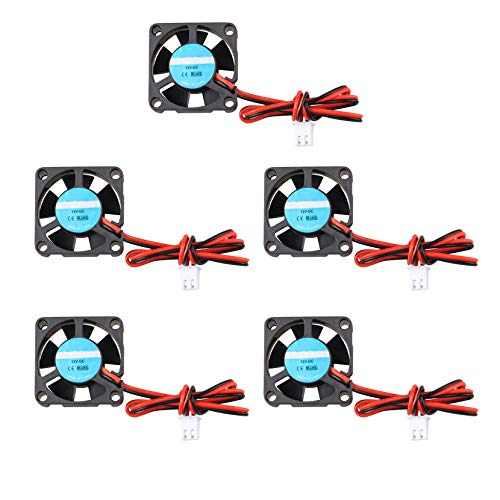 Jopto 5 ventiladores de impresora 3D 12V DC Mini ventilador de refrigeración silencioso 30 x 30 x 10 mm con cable de 28 cm para extrusora de impresora 3D Hotend Makerbot MK7 MK8 CPU Chip Arduino