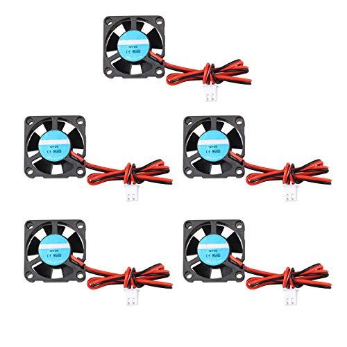 3D-Drucker-Ventilator, 12 V DC, Mini, leiser Lüfter, 30 x 30 x 10 mm, mit 28 cm Kabel für 3D-Drucker, Extruder, Hotend, Makerbot MK7, MK8, CPU Chip Arduino, 5 Stück