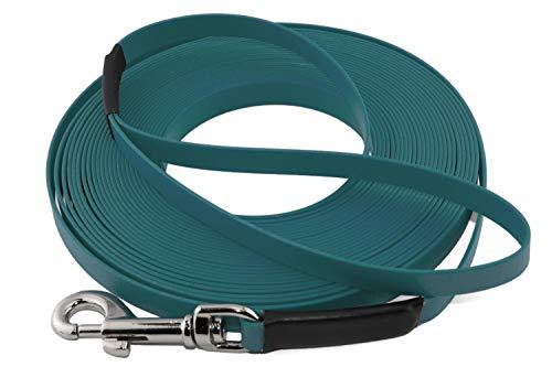 LENNIE Leichte BioThane Schleppleine, 9mm, Hunde 5-15kg, 5m lang, mit Handschlaufe, Petrol/Teal, genäht