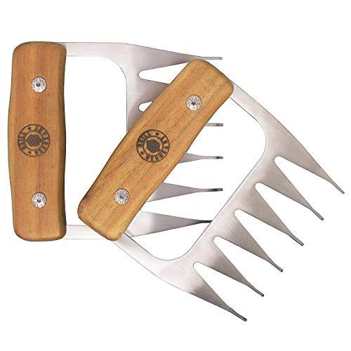 GRILL SERGEANT Metal Meat Claws, BBQ Pork Shredder, Shark Teeth, 18/8 Stainless Steel Forks, Largest Rivets, Best for Shredding, Pulling, Handling, Lifting, Serving, Chicken, Turkey