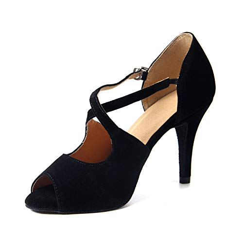 Naudamp Damen Satin Latin Dance Schuhe Ballsaal Salsa Stöckel Absatz Walzer Tango Cross Strap Peep Toe Schuhe