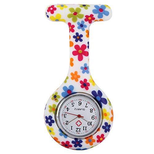 B/H Reloj de Enfermera Resistente ,Reloj de Enfermera con Estampado de Flores de Silicona, Elegante Reloj de Bolsillo de Cuarzo para enfermera-10,Reloj Prendedor de Broche de