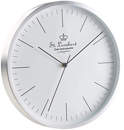 St. Leonhard Funkwanduhren: Moderne Aluminium-Funk-Wanduhr, flüsterleises Sweep-Uhrwerk, Ø 31 cm (Funkuhr Wanduhr Wohnzimmer)