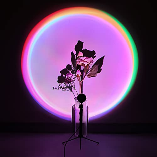 Rainbow Projection Lamp 16 Modes Sunset Lamp with Tripod Stand, 360 Degree Rotation RGB Projector...