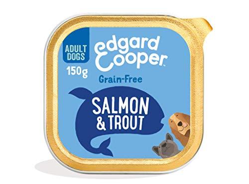 Edgard & Cooper Cibo Umido per Cani Adulti Salmone e Trota Senza Cereali Vaschetta 11 x 150g, con Barbabietola Mela e Spinaci, Alimentazione Naturale Completa