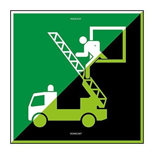 Fluchtwegschild – Rettungsausstieg - 200x200mm - lang nachleuchtend – Folienschild selbstklebend – gem. DIN ISO 7010 (E017)