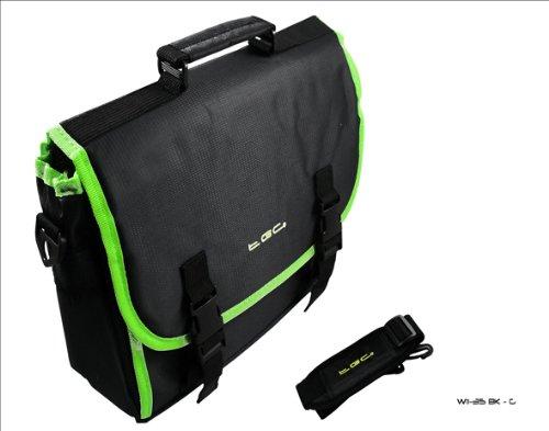 Black & Elec Green Trim Messenger Style Case Bag 4 Amazon Kindle Touch 3G...