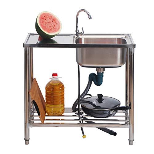 QHW Lavabo de Cocina Comercial, Fregadero de un Solo Tanque de Acero Inoxidable con Mesa de operación Simple, Utilizado en lavaderos de tamaño 80x38x85cm