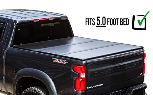 RDJ Trucks 65-Series Hard Folding Tonneau - Easy-On/Easy-Off Solid Flip Bed Cover - Fits/Compatible with Chevrolet Colorado & GMC Canyon 2015-2021 (5.0ft Short Bed)
