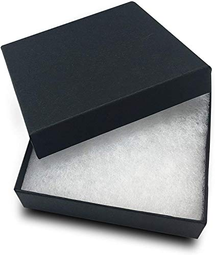 RJ Displays 25 Pack Cotton Filled Matte Black Color Cardboard Paper Jewelry Gift and Retail Boxes 3.5 X 3.5 X 1 Inch Size #33 (3 1/2x3 1/2x1 inches #33)