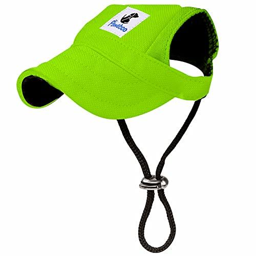 Pawaboo Hunde Baseballmütze, Basecap Verstellbar Sonnenschutz Hut Hundecap mit Ohrlöchern für Welpen Haustier, M, Leuchtendes Grün