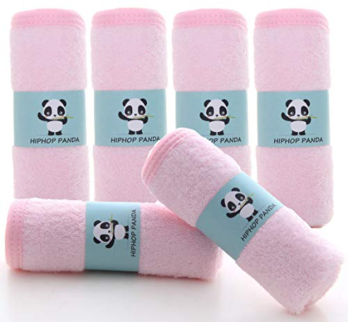 Bamboo Baby Washcloths - Hypoallergenic 2 Layer Ultra Soft Absorbent Bamboo Towel - Newborn Bath Face Towel - Natural Reusable Baby Wipes for Delicate Skin -Baby Registry as Shower (Pink, 6 Pack)