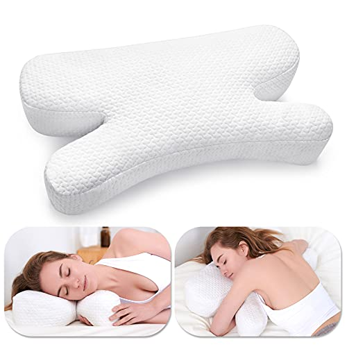 Tiooii Anti Wrinkle Pillow, Gel Shredded Memory Foam Pillow for Neck Pain Relief, Neck Pillow for Sleeping, Adjustable Contour Pillow for Bed with Washable Pillow Cover for Side Back Stomach Sleepers