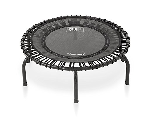 JumpSport 220 In Home Cardio Fitness Rebounder - Mini Trampoline with Premium Bungees, Workout DVD, and Online Access to Video Workouts - Safe, Sturdy and Gentle on the Body