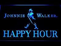 Johnnie Walker Happy Hour LED看板 ネオンサイン ライト 電飾 広告用標識 W40cm x H30cm ブルー