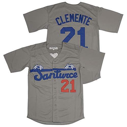 #21 Roberto Clemente Santurce Crabbers Puerto Rico Baseball Jersey Stitched Grey Size XL