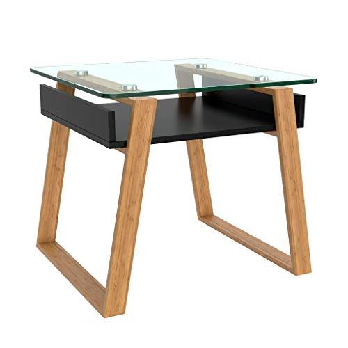 bonVIVO Pablo, Tavolino da Salotto Moderno, Tavolino Basso, Tavolino da Divano – Tavolino da Salotto di Design/Tavolino da Salotto in Legno e Vetro Temperato dal Design Moderno