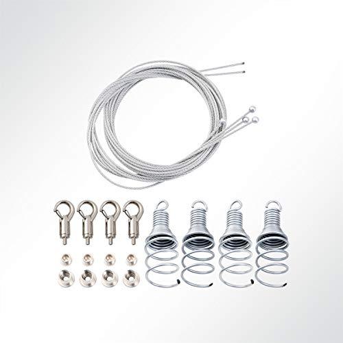 LYSEL® Abhängeset 4-Fach für Akustikelement mit Drahtspirale und Hakengripper, Drahtseil Ø1,5mm, Länge 1,5m