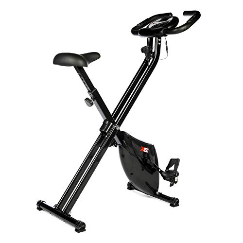 XS Sports B210 Folding Magnetic Exercise Bike - Indoor Fitness Equipment - Stationary Upright Gym Cycle and Foldable Trainer for Home Workout and Cardio