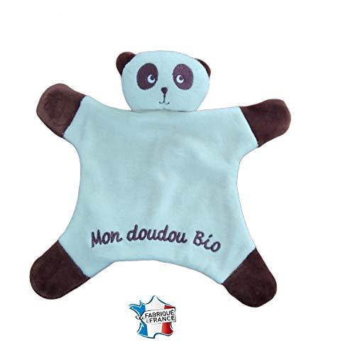 Doudou Coton Bio Panda pour Bébé Enfant 1er Age Idéal Cadeau Naissance Original pour Tous Ecriture Brodée Marron Peluche Plat Jouet De Compagnie Jeu Baby Fabrication Artisanale Made in France Organic