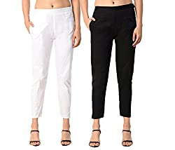 PAMO Black White Cream Womens Cotton Lycra Trousers/Pants