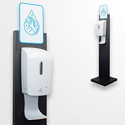 Klemp – Dispensador de gel hidroalcoholico automático, jabón líquido, gel desinfectante de manos, gel antibacteriano, sin contacto, con soporte al suelo, altura: 120 cm, Uniquement sur une face