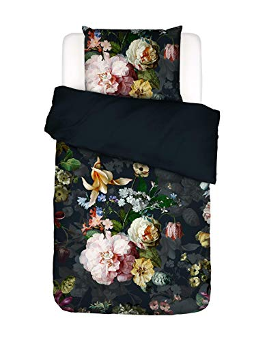 ESSENZA Bettwäsche Fleurel Blumen Pfingstrosen Tulpen Baumwolle Flanell Indigo Blue, 135x200 + 1x 80x80 cm