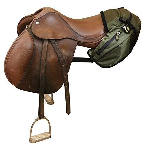 TrailMax Englisch/Endurance Pferde-Satteltasche für Trail-Riding mit 3 Fächern und Schnellverschluss-Kompressionsriemen, Salbeigrün