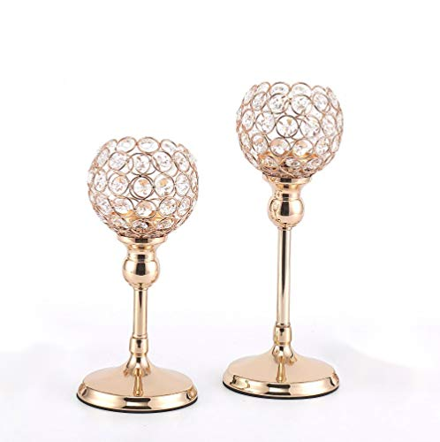 Esharey Crystal Candle Holders Set of 2, Gold Pillar Candlesticks for Home Decor,Wedding, Kitchen Dinner Tabletop Centerpieces Decorative, Birthday Candle Gifts for Women (10 inch and 12 inch)
