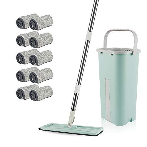 REALWAY Flat Floor Mop and Bucket Set with 10...