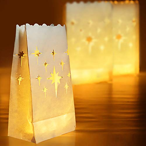Homemory 50 PCS White Luminary Bags, Flame Resistant Candle Bags, Stars Design Luminaries for Wedding, Party, Halloween, Thanksgiving, Christmas