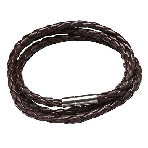 XQxiqi689sy Bracelet Bangle Vintage Mujeres Hombres Multicapa Trenzado Cuff Pulsera Brazalete Cinturón Círculo Regalo marrón