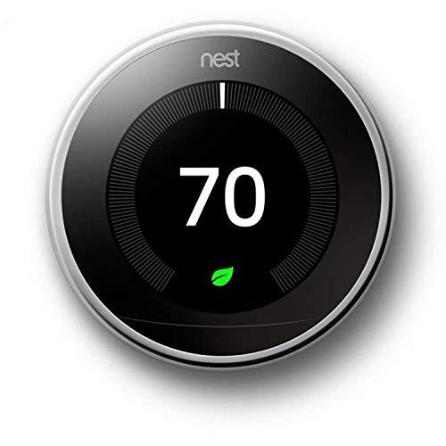 Nest T3019US Nest Learning Thermostat, Polished Steel (Renewed)