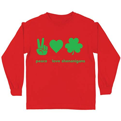 lepni.me Camiseta para Nios Paz y Amor Shenanigans Regalo para la Fiesta del Da de San Patricio en Irlanda (12-13 Years Rojo Multicolor)