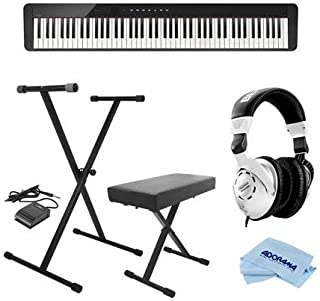 $615 » Casio PX-S1000 Privia 88-Key Slim Digital Console Piano with 18 Tones, Black - Bundle With On-Stage KPK6520 Keyboard Stand/Bench Pack with Sustain Pedal, Behringer HPS3000 HP Studio Headphones, Cloth