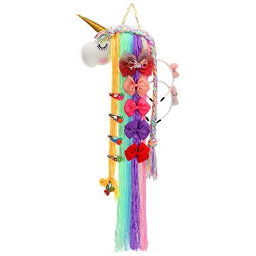 Einhorn Haarspangen Halter Organizer für Baby Mädchen, Regenbogen Haarschleife Zubehör...
