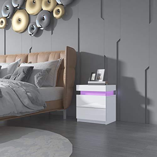 Senvoziii Nachtschrank Kommode mit 2 Schubladen Nachttisch Schubladen Schlafzimmer Hochglanz Beistelltisch RGB LED Beleuchtung - Weiß
