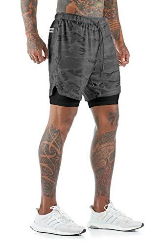 Yidarton Shorts Herren Sport Sommer 2 in 1 Kurze Hosen Schnelltrocknende Laufshorts Fitness Joggen und Training Sporthose mit Taschen (334-Graue Tarnung, Large)