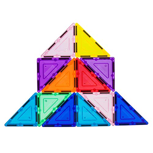 PicassoTiles 12 Pcs Magnetic Building Block Set Right Triangle Magnet Tiles Construction Toy STEM Learning Kit Educational Playset Playboard Pretend Play Stacking Blocks Child Brain Development PTE02