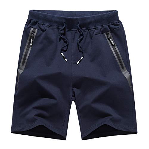 KEFITEVD Pantalones Cortos Informales para Gimnasio para Hombre, Pantalones Cortos de algodón para Ciclismo, Yoga, con Bolsillos con Cremallera, Azul Marino