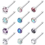 Kridzisw 20G 12Pcs Stainless Steel Stud Nose Ring CZ Opal Nose Pin Bone Body Piercing Jewelry for Womens Mens