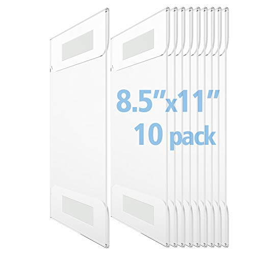 OfficeMajor Acrylic Sign Holder 8.5x11 - Wall Mount Sign Holder with 3M Tape Adhesive Office Door Sign Plastic Frame Wall Sign Holder Clear Wall Mount Frame (Box of 10)